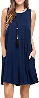 TOPONSKY Women`s Tunic Pockets Casual Swing T-Shirt Plain Loose Dress