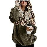Cute Hoodies For Women Sudadera de Fleece Esponjoso Abrigos Mujer Invierno Rebajas Sudadera con Estampado de Leopardo Costuras Sudadera Personalizada con Cordón Cremallera de 1/4 S-5xl Suelta