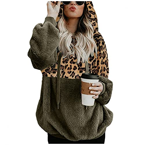 Crop Hoodies For Women Sudadera de Fleece Esponjoso Abrigos Mujer Invierno Elegantes Sudadera con Estampado de Leopardo Costuras con Cordón Pullover Invierno Cremallera de 1/4 S-5xl Grande Suelta