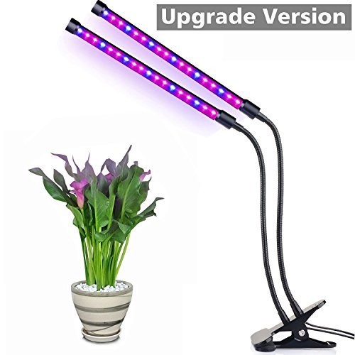 Dual Head LED Grow Light, Aokey 20W 36 LED 2 Dimmable Levels Plant Grow Lamp with Adjustable 360 Degree Gooseneck for Indoor Plant Hydroponic Greenhouse Gardening
