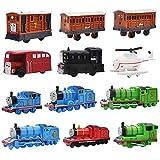 12 Piezas Mini Coches Cars, Thomas & Friends Mini Die Cast Set, Coches de Pequeños Regalos Fricción Powered Truck Cars Set, The Crane Hacia Atrás el Multicolor Coche de para niños