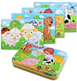 BBLIKE Jigsaw Wooden Puzzles Toy in a Box for Kids, Pack of 4 with Varying Degree of Difficulty Educational Learning Tool Best Birthday Present for Boys Girls (Granja)