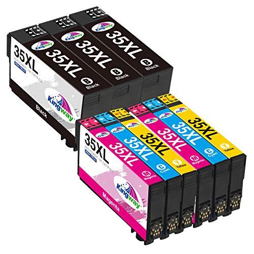 Kingway 35XL Cartucce d'inchiostro Sostituzione per Epson 35 35 XL Compatibili per Epson Workforce Pro WF-4720DWF WF-4725DWF WF-4730DTWF WF-4740DTWF (3 Nero, 2 Ciano, 2 Magenta, 2 Giallo)