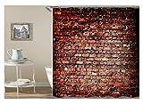 Coniea Duschvorhang Waschbar Antischimmel Mauer Ziegel Duschvorhang Brick Rot Badvorhang Anti-Schimmel 180X180Cm