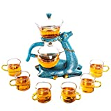 FKJYUF Automatic tea set Automatic tea maker Heat-resistant glass Kung Fu tea set Deer tea set Accompanied by a deer Teapot Coffee Juice cup Cup tea set、tea sets for women、tea sets, BLACK-MSTZ-M-001