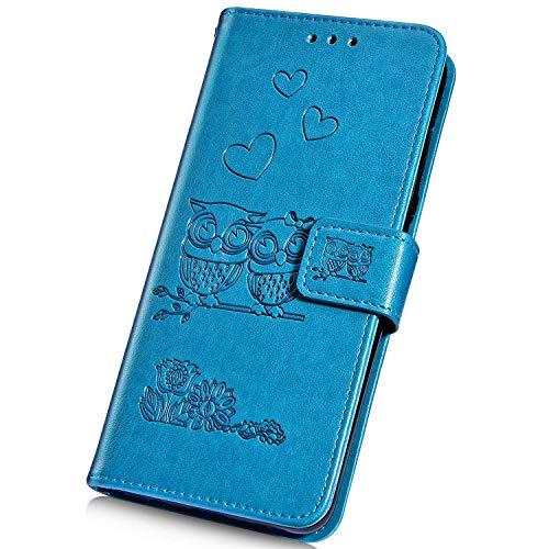 Surakey Cover Compatibile con LG G6 Custodia Flip PU Pelle Modello Gufo Case Libro Portafoglio Cover con Supporto Porte Carte Anti-Scratch Custodia per LG G6,Blu
