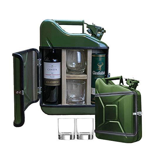 MikaMax - Jerrycan Geschenkset 10L - Kanister - Whiskey Bar - Weinbar - 10L - Grun - 39x29x13 cm - mit 2 Gläsern - 39x29x13 cm - Geschenke für Paare