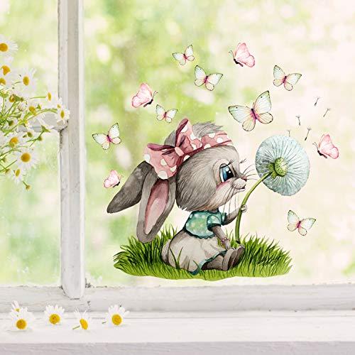 ilka parey wandtattoo-welt Fensterbild Hase Häschen Pusteblume Schmetterlinge wiederverwendbar Fensterdeko Fensterbilder Frühling Deko Dekoration bf132 - ausgewählte Größe: *1. Häschen Pusteblume*