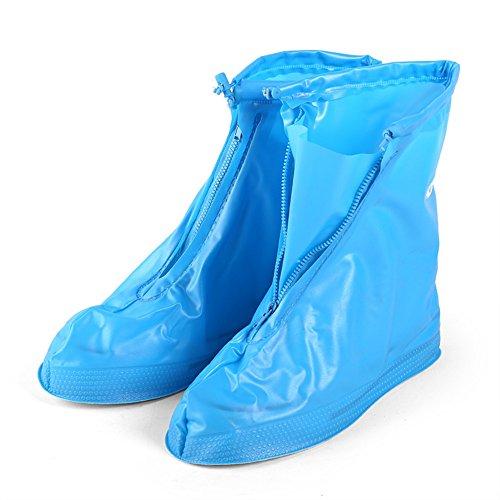 Zapatos Impermeables de la Lluvia Cubierta Cubrezapatos de Nieve Protección Protectora Antideslizante Botas de Reutilizables Hombres Mujeres Niños,Azul,M