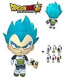 PBP Dragon Ball Super - Peluche Vegeta Ultra Instinto, Pelo Azul 30cm Calidad Super Soft + 1 Llavero Aleatorio de Sonic
