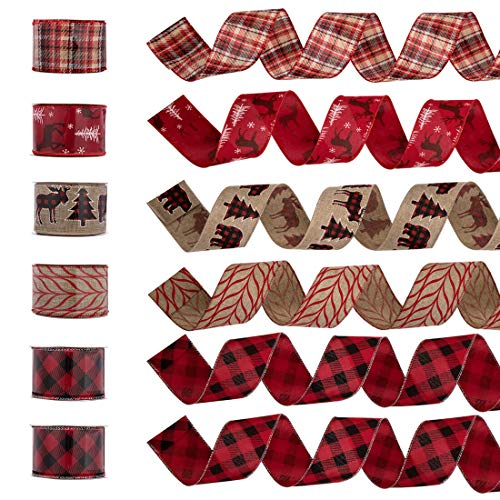 """blitzlabs 2.5"""" 36 Yards Wired Burlap Christmas Ribbon Holiday Party Jute Ribbon Decorations, Assorted Rustic Patterns Classic Fabric Plaid Lining Ribbons Crafters Ornaments Christmas Gifts Ribbons"""