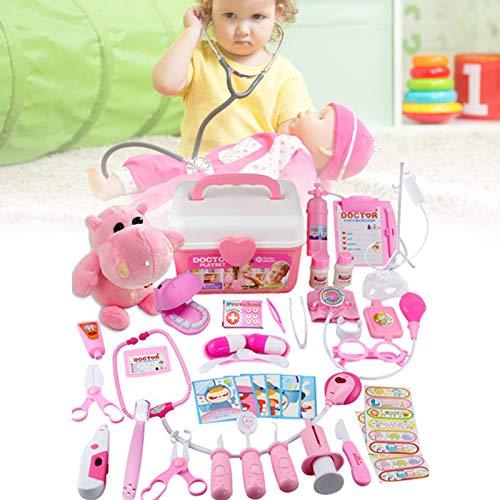 Juego de 42 juguetes médicos para niños, juego de rol, maletín de médico con estetoscopio, regalo para niños, niños y niñas mayores de 3 años