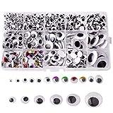 Autoadhesivo Wiggle Ojo,Simuer plástico Adhesivos Wobbly Googly Wiggle Eyes Móviles Manualidades Ojos para Muñecos Redondo para los Proyectos de Manualidad 1100 piezas