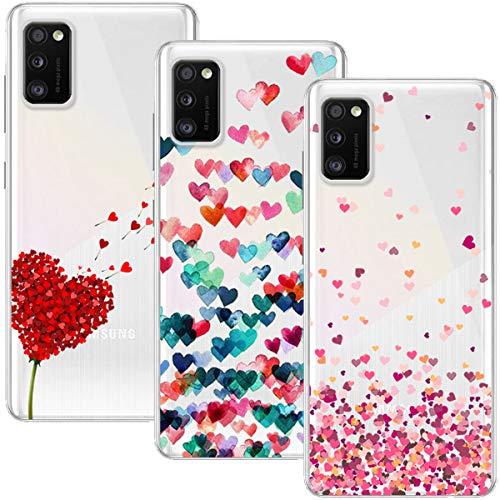 Young & Min Funda para Samsung Galaxy A41, (3 Pack) Transparente TPU Silicona Carcasa Delgado Antigolpes Resistente, Amor