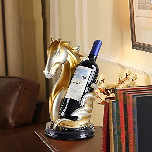 BNMKL Wine Rack Horse, Wine Rack Decorations Regalo de inauguración de la casa Europea y Americana, Artesanías de Resina caseras Adornos de Animales Hechos a Mano Champán Delicado