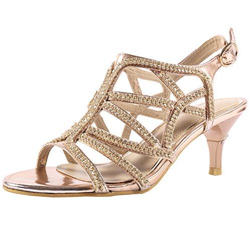 SheSole Ladies Rhinestone Dress Sandals Low Heels Prom Wedding Shoes for Women Gold US 9