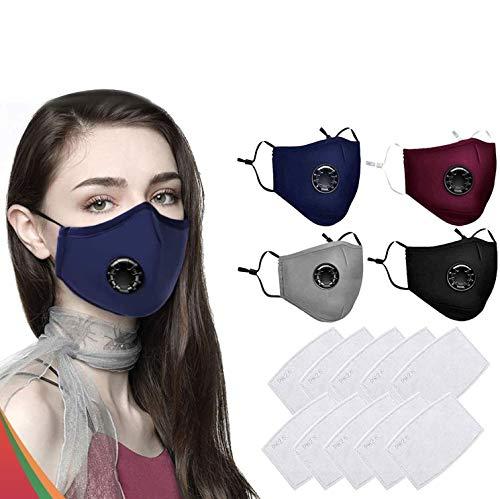 1Above Fyra tvättbara ansiktsmasker i 100 % bomull återanvändbara med 10 filter   Med andningsventil  Öronögla täcker skydd munskydd   Färg: Svart, brun, grå och blå (4 mask + 10 filter)
