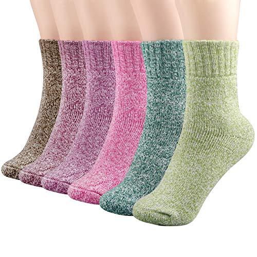 Philonext Calcetines de invierno de 6 pares, calcetines de lana de invierno de lana gruesa súper gruesa Calcetines de lana de cachemira de lana fría de invierno casual de época para las mujeres