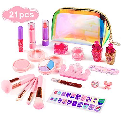 ARANEE Maquillage Enfant Jouet 21PCS Kids Make Up Set pour Les Filles, Kit de Jouet de Maquillage Lavable avec Sac cosmétique à Paillettes