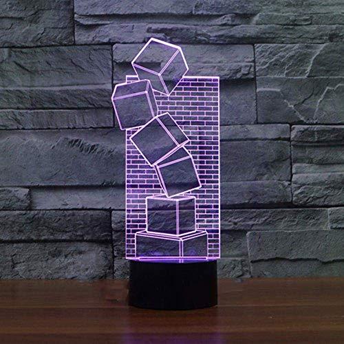 Luz De Noche Led 3D Colorida Cabecera Visual Novela Bloque Pared De Ladrillo Forma Lámpara De Mesa Dormitorio Lámpara De Regalo Decoración