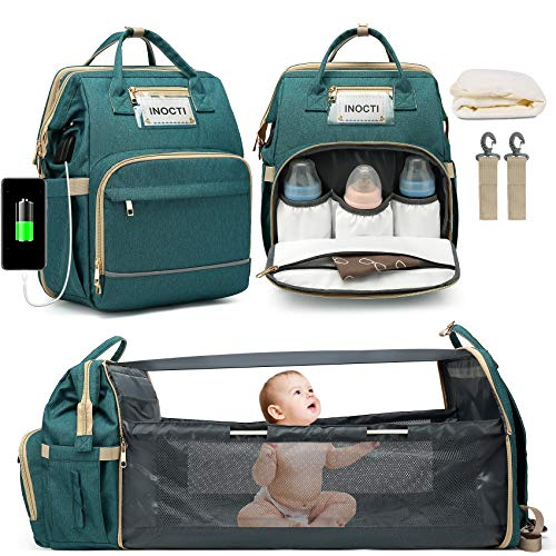 INOCTI Diaper Bag Backpack, Baby Nappy Changing Bags with Bassinet 3 in 1 Waterproof with Changing Station, Large Capacity Mummy Bag Include Insulated Pocket with Folding Crib (Green)