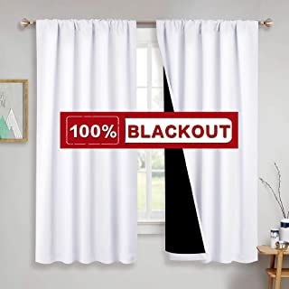 PONY DANCE White Blackout Curtains - (52 x 63 inch, Pure White) 100% Blackout Full Shade Light Blocking Drapes Lined Panels Thick Fabric Window Covering for Bedroom, 2 PCs