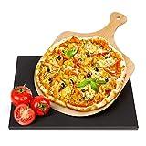 Wemk Pietra refrattaria per Pizza, Pietra per Pizza da Forno in Ceramica Cordierite, Pala in bambù, Cottura Fino a 800° Cordierite, per Forno e Barbecue(30 * 38cm)