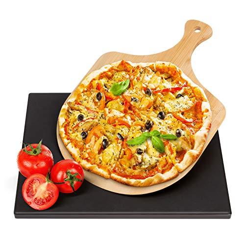 Wemk Pierre à Pizza en Cordiérite - Pierre Pizza avec Bambou Pelle à Pizza, 2 Pièces Inclut Pierre à Pizza Rectangulaire & Pelle à Pizza en Bambou pour Four, Grill et Barbecue(30x38cm)