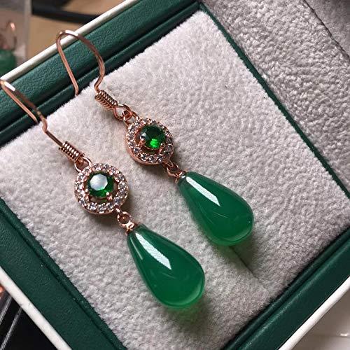 yqs Pendientes de gota de agua de jade verde natural para las mujeres esmeralda piedra preciosa 925 pendiente de plata esterlina encanto joyería fina