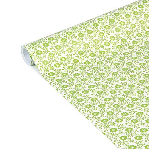 Clairefontaine 223867C - Rolle Geschenkpapier Excellia Tiny Rolls, 5m x 35 cm, 80g, 1 Rolle, Blumen Grün
