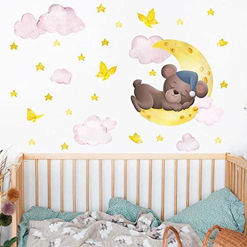 Oso De Dibujos Animados Acostado En La Luna Creciente Pegatinas De Pared Habitación De Los Niños Decoración Del Dormitorio Pegatinas De Pared Autoadhesivas