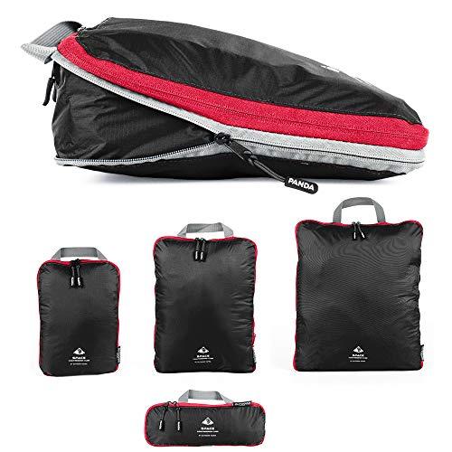 Packtaschen Set mit Kompression   ultraleichte Packwürfel für Rucksack und Koffer   wasserabweisende Compression Packing Cubes als Gepäck Organizer und Kleidertasche (Black, Set (1 XL,1 L, 1 M, 1 S))