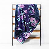 TANOFAR Baby Blankets Purple Floral Minky Toddler Blanket for Boys Girls, Dotted Backing, Double Layer, Crib Receiving Blanket, for Nursery/Stroller/Toddler Bed/Carseat, 30 x 40 in, Watercolor Flower
