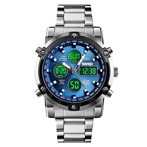 SKMEI Mens Wrist Watch, Waterproof Military Analog Digital Watches with LED Multi Time Chronograph, Stainless Steel Business Watches for Men