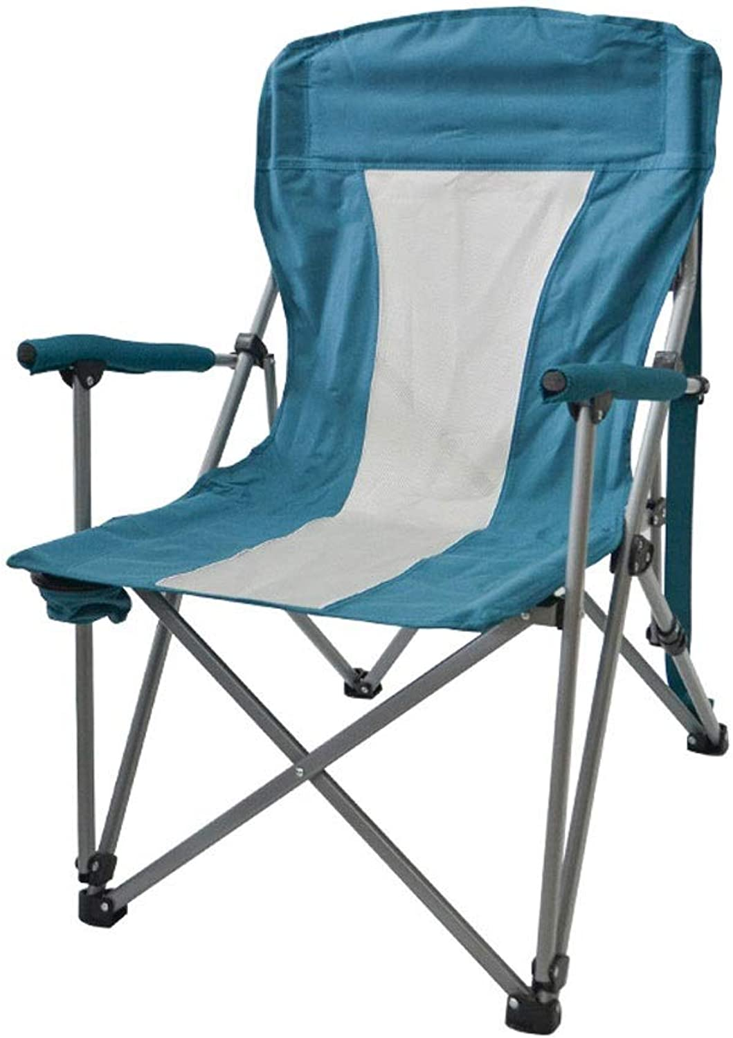 LNYJ Backrest chair outdoor multi-purpose camping armchair wear-resistant Oxford cloth folding chair non-slip fishing beach chair Deck chair office lunch break chair with cup holder (Load bearing 150k