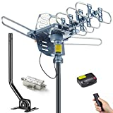 PBD Digital Outdoor TV Antenna, 150 Mile Motorized 360 Degree Rotation Support 2 TVs, Mounting Pole, 50FT RG6 Coax Cable, 4G Filter, Wireless Remote Control, UHF/VHF, Snap-On Installation