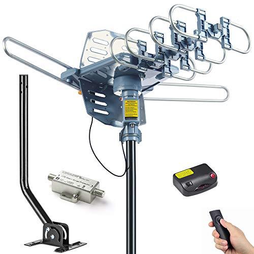 PBD Digital Outdoor TV Antenna, 150 Mile Motorized 360 Degree Rotation...