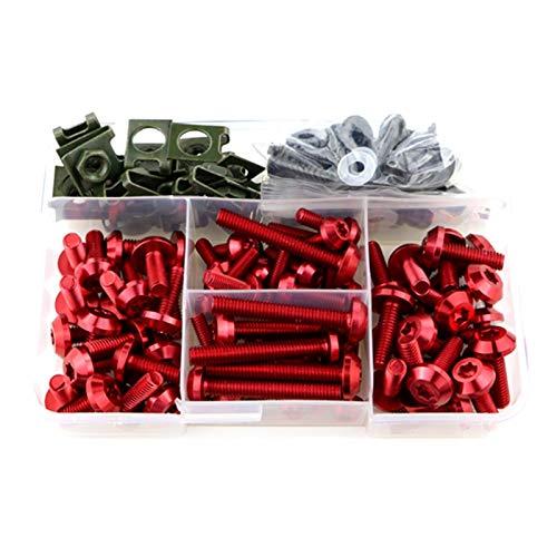 JUANJUAN Ajuste para BMW K1200GT K1200LT K1200RS K1200S K1300S K1300R K1600GT K1600GTL K1600B Kit completo de tornillos de carenado (Color: Rojo)