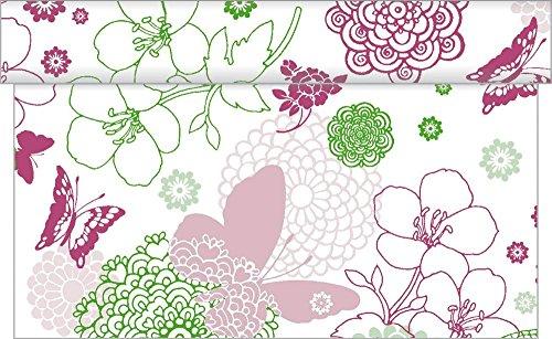 Sovie HORECA Tischläufer Luisa | Linclass® Airlaid Tischläufer 40cm x 24m | Tischdecken-Rolle stoffähnlich | Einmal-Tischdecke für Hochzeit & Partys Pink-Grün