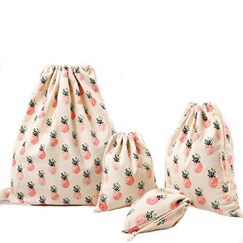 Abaría - Mochila de cuerda Tela + 3 bolsos del almacenaje organizador para maleta, piña