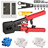 CHZHLM EZ RJ45 Crimp Tool Pass Through Crimper With 80pcs Connetors and 40pcs Covers Cutter Set for RJ45/RJ12 6P 8P Multi-Function Cable Crimping tool Network Wire Stripper Knives Cable Tester