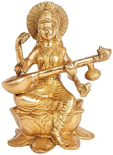 Exotic India Kamalasana Vina-Vadini Saraswati - Messingskulptur