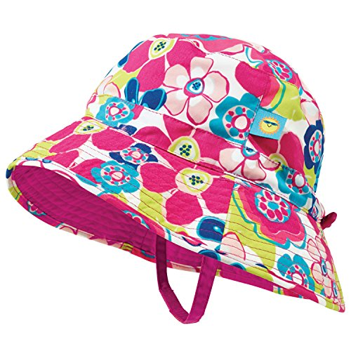 Pink and Blue Floral Baby Girl Reversible Sun Hat by Sun Smarties - X-Small