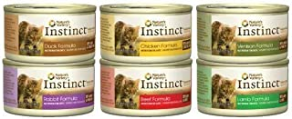 Nature's Variety Instinct Canned Cat Food Variety Pack (Lamb, Chicken, Beef, Venison, Rabbit, Duck) 12, 3-ounce cans