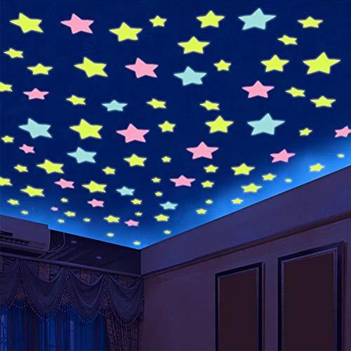 100 STÜCK Leuchtsterne Aufkleber Schlafzimmer Sternenhimmel Aufkleber Leuchtende Stern Form Stereowand Aufkleber Wand Dekoration Für Schlafzimmer Wohnzimmer Kinderzimmer