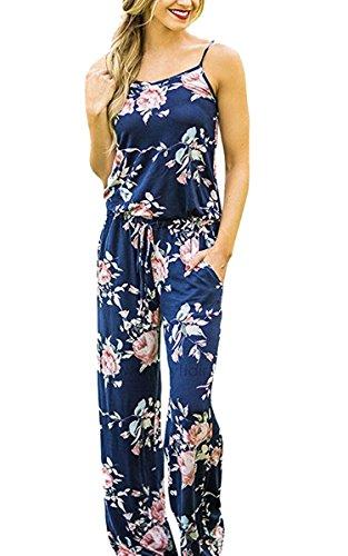 ECOWISH Jumpsuit Damen Elegant Sommer Hosenanzug Blumenmuster Ärmellos Overall Romper Blau S