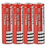 N / E Bateria Pila 18650 Recargable 3.7v 4800mah Litio Button Top Battery Alto Rendimiento BotóN De La BateríA Superior para Linterna 18650 Rojo