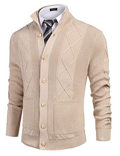 COOFANDY Jersey de punto para hombre con cuello alto y bolsillos, caqui, S