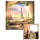 LFEEY 10x10ft French Dreamlike Paris Eiffel Tower Backdrop Curtain Flowers City View Photography Background YouTube Photo Booth Studio Prop