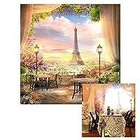 lfeey 6x 6ftドリーミーフランスパリエッフェル塔Backdropカーテン花City View写真背景Youtube写真ブースStudioプロップ